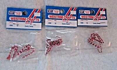 Vintage Miniature Candy Cane Ornaments #4380 WESTRIM CRAFTS Lot of 3