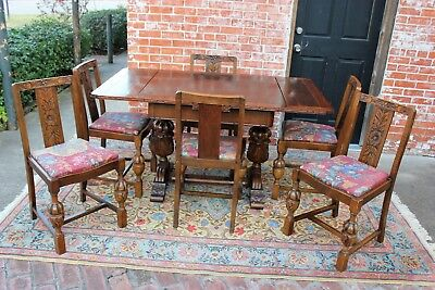 English Antique Oak Art Deco Draw Leaf Kitchen Table & 6 Chairs | Dining Set