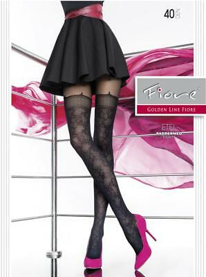 2caeecdad2818 Fiore Etel Floral Mock Hold Up Tights Pantyhose 40 Denier Black 3 Sizes
