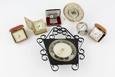 7 x Assorted Vintage CLOCKS Hand-Wind WORKING Inc. Wall, Bedside, Travel, Alarm