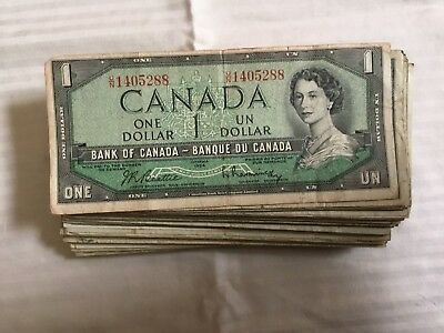 Lot Of 125 Bank Of Canada One Dollar Notes Ottawa 1954 Canadian Bank Note Co Lmt