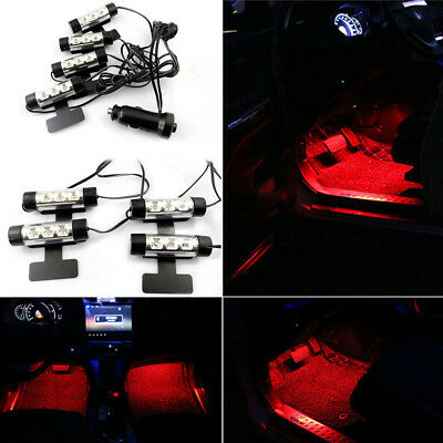 4 x 3 Red LED Light Car Interior Atmosphere Charge Floor Decor Lamp Accessories
