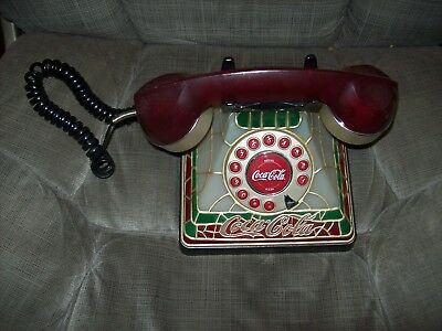 Coca Cola Light Up Stained Glass Telephone Corded Push Button Glows Vintage