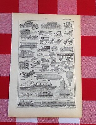 Vintage French Dictionary original image 1940 Cars trams planes vehicles