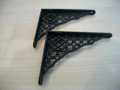 "Pair Antique Cast Iron Small Victorian Brackets 4"" x 5"""