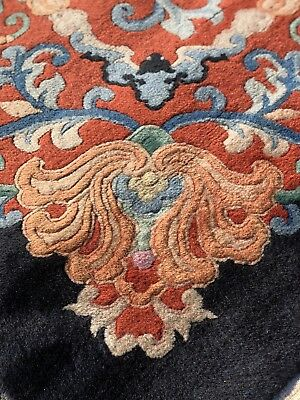 Auth: 30's Antique Art Deco Rug Chinese   Fette Velvety Beauty W Bats 10x13   NR