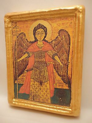 Saint Michael Archangel Handmade Byzantine Coptic Eastern Orthodox Wooden Icon