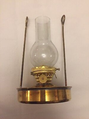 Vintage Small Brass SHIP wall / free standing oil lamp working & Glass Chimney