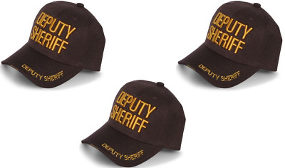 Deputy Sheriff County Law Enforcement Police  Curved Bill Hat Cap -Brown/ Gold
