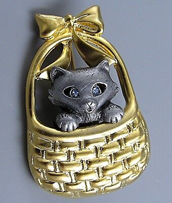 Vintage Jewelry Signed DONNCRAFT Blue Eye Cat Basket BROOCH PIN Rhinestone Lot A