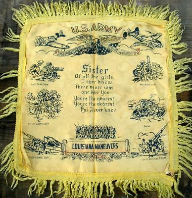 Vintage US Army LOUISIANA MANEUVERS WW II 'Sister' Silk Pillow Case Cover Sham