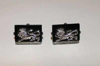 Vintage Swank Royal Imperial Mounted Lion Cufflinks silver tone On Black.