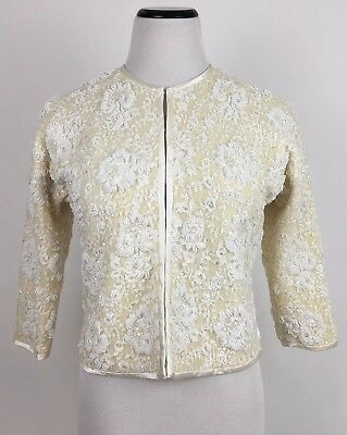 Exclusively Yours Doreen Loh Vintage Sequined Beaded Crop Jacket M? Ivory FLAW