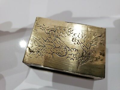 Dragon Brass Vintage / Antique Match Book Holder  / Case / Dragon Two Sided