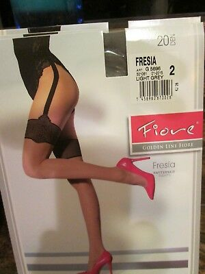 Fiore Fresia Mock Stockings Tights Pantyhose Black On Natural Or Gray 3 Sizes