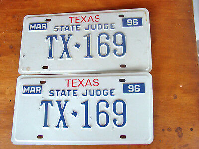 1996 Texas STATE JUDGE license plate TX 169
