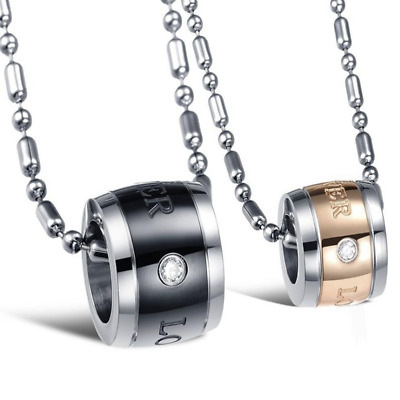 Fashion Unisex 316L Stainless Steel Diamond Ring Chain Pendant Necklace Gift 800