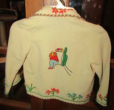 Vintage 40s 50s Mexican Souvenir Jacket Embroidered Childs Wool Tourist Toddler