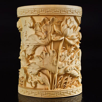 Chinese Exquisite Hand-carved The Fish & Lotus  Boxwood carving  Brush Pot