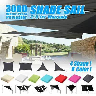 300D UV Block 4 Shapes Sun Shade Sail Waterproof Awning Outdoor Canopy