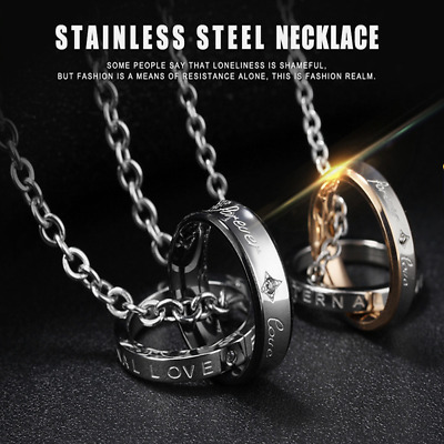 Fashion Unisex 316L Stainless Steel Love ring  Chain Pendant Necklace Gift GX866