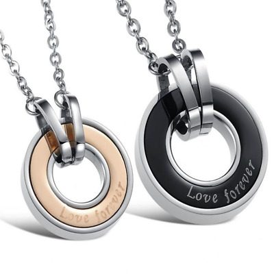 Fashion Unisex 316L Stainless Steel Love ring  Chain Pendant Necklace Gift GX816
