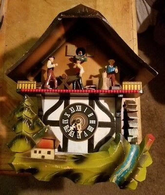 Vintage cuckoo clock nice one day musical animation from West Germany
