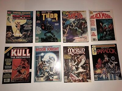 VINTAGE MARVEL PREVIEW MAGAZINES - Lot of 8 1975-1980 Good Condition.