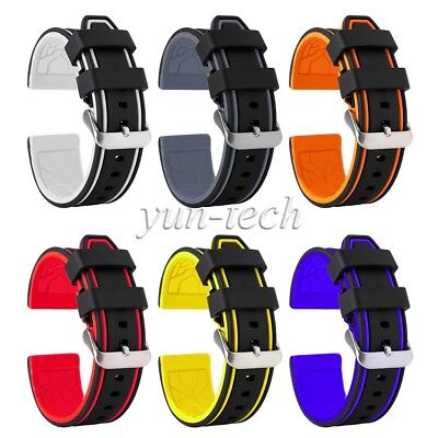 Waterproof Watch Bracelet Silicone Band Replacement Bicolor 20mm22mm24mm26mm