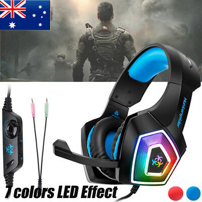 3.5mm Gaming Headset LED Stereo Headphones With Mic for PC PS3 PS4 Xbox ONE AU