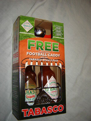 TABASCO Limited Edition Free FOOTBALL Caddy Holder Regular & Chipotle Pepper New