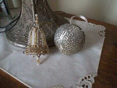 Vintage Beaded Sequin Christmas Ornaments Pair Of Silver Ones