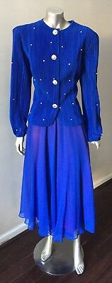 Embellished Chiffon Vintage 80s Pearl 2 Piece Jacket Long Skirt Suit Size 10