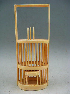 Collectible Chinese Old Cattle Bone Hand-Carved HuDieJie Cricket Cage