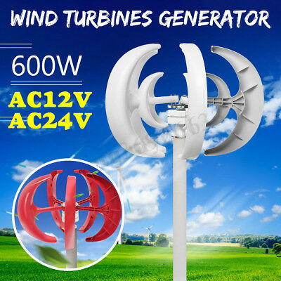 600W 12V 24V Lantern 5-Blades Vertical Axis Wind Turbine Generator  new