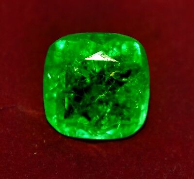 Natural Green Emerald 13.00 Cts Cushion Shape Zambian GGL Certified Gem