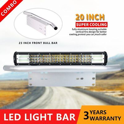 "Driving 20 inch CREE LED Light Bar + 23"" Silver Number Plate Frame Mount Bracket"