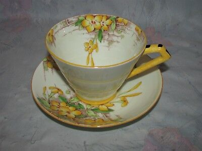 Vintage Paragon Jasmine Yellow Floral with Bricks Tea cup and Saucer