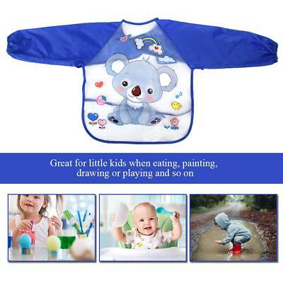 Baby Toddler Kids Waterproof Long Sleeve Bibs Apron Cartoon Feeding Smock