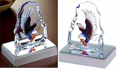 Led Rainbow Of Colors Lighted Eagle Crystal Sculpture In Case ** Nib