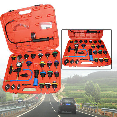 28pc Auto Cooling System Radiator Cap Pressure Tester Kit Pump Gauge Adapter NEW
