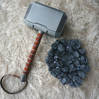 FULL METAL 1:1 Avengers Thor Hammer Replica Prop Mjolnir LED Light Stand Base