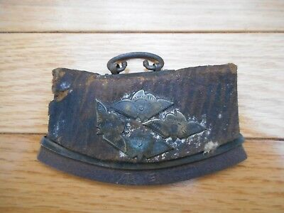 Antique Oriental Asian Art Deco Leather Small Purse Wallet Brass