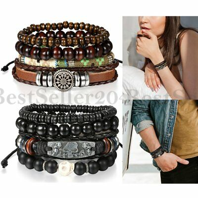 8pcs set Retro Skull Tribal Braided Leather Beaded Wristband Women Men Bracelet