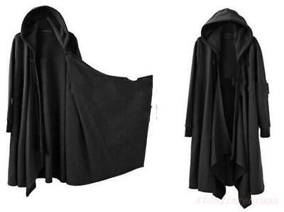 Stylish Mens Punk Hooded Cloak Cape Trench Coat Loose Long Casual Gothic Jacket