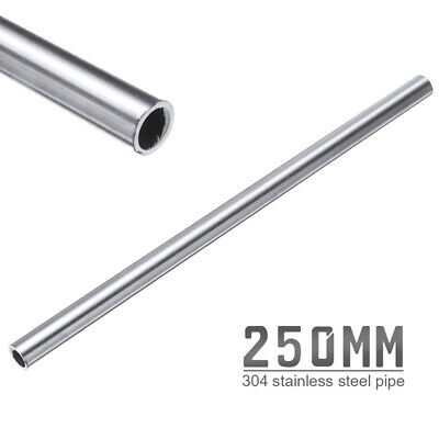 1x OD 12mm x 10mm ID 250mm Length 304 Stainless Steel Capillary Tube Pipe Silver