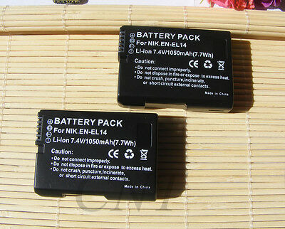 2X Rechargeable Lion Camera EN-EL14 Battery FOR Nikon P7000 D3100 D3200 D5100