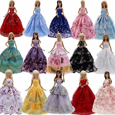 5 Handmade dresses + 10 pairs of shoes for Barbie dolls clothes kids cute gift