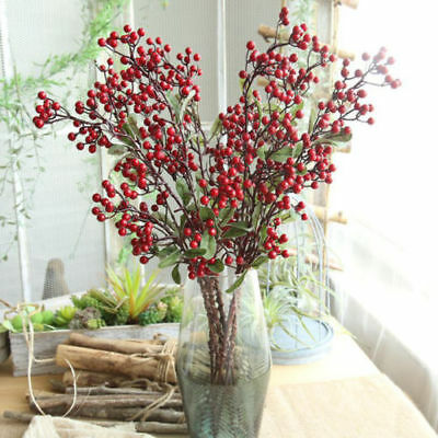 Xmas Red Berry Holly Leaves Branch Artificial Flower Pick Home Decor Y2