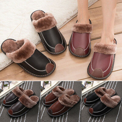 Men Comfy Slippers Flat Plush Leather Cozy Non-slip Warm Winter Home Indoor